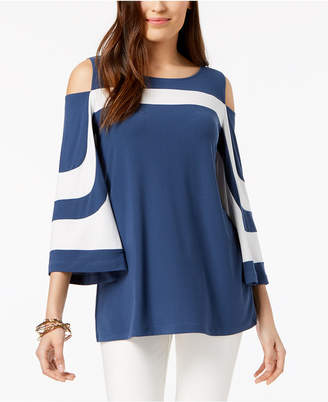 Alfani Colorblocked Cold-Shoulder Top, Created for Macy's