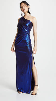 Marchesa One Shoulder Pleated Gown