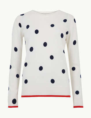 Marks and Spencer Polka Dot Round Neck Jumper