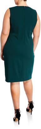 Iconic American Designer Metallic Floral Embroidered Sheath Dress, Plus Size