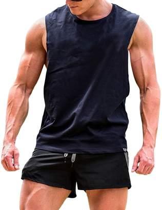 cb11c148fe21a Yiwa Men s Fashion Basic Solid Wide Shoulder Sleeveless Workout Gym  Training Tank Vest M