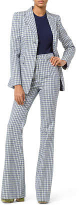 Michael Kors High-Rise Flare-Leg Checkered Pants