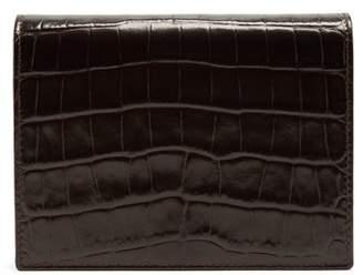 Smythson Mara Crocodile Effect Leather Bridge Card Case - Mens - Brown