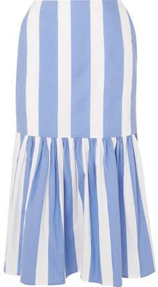 Pushbutton - Asymmetric Striped Cotton-poplin Midi Skirt - Sky blue