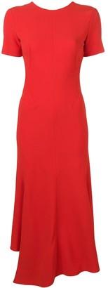 Victoria Beckham V-back asymmetric midi dress