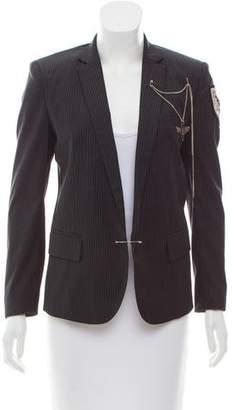 Balmain Pin-Stripe Embellished Blazer