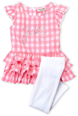 Juicy Couture Toddler Girls) Two-Piece Gingham Tiered Tunic & Leggings Set