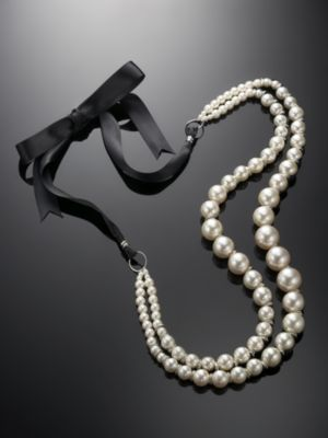 NY&C Red Label Faux Pearl Necklace with Ribbon