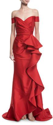 Badgley Mischka Off-the-Shoulder Ruffled Gown