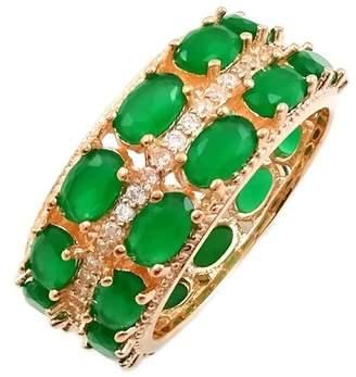 Savvy Cie 18K Rose Gold Vermeil CZ & Created Emerald Double Eternity Band Ring
