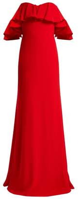 Alexander Mcqueen - Ruffled Off The Shoulder Crepe Gown - Womens - Red