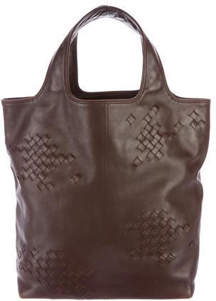 Bottega VenetaBottega Veneta Intrecciato-Trimmed Leather Tote