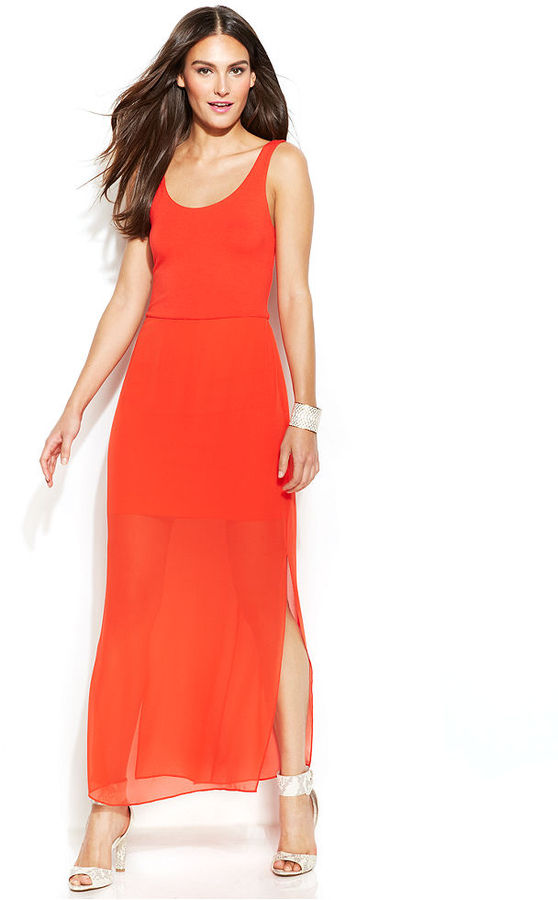 Vince Camuto Sleeveless Sheer-Skirt Maxi Dress