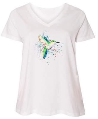 Inktastic hummingbird paint splatter Ladies Curvy V-Neck Tee