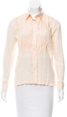 Issey Miyake Fete Button-Up Plissé Top