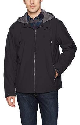 Izod Men's Oxford Jacket with Jersey Hood and Polar Fleece Lining