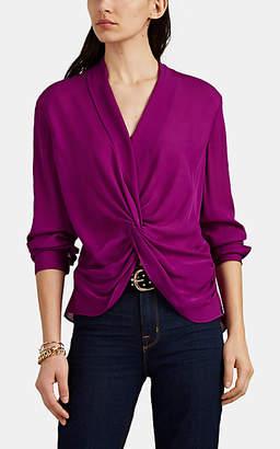 L'Agence Women's Mariposa Twisted-Front Silk Georgette Blouse - Purple