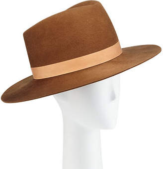 Janessa Leone Stewart Wool Fedora Hat w/ Leather Hat Band