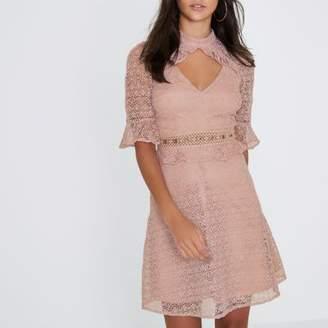 River Island Womens Light pink lace frill waisted dress