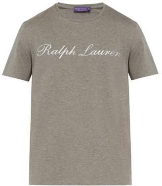 Ralph Lauren Purple Label Logo Print Cotton T Shirt - Mens - Grey