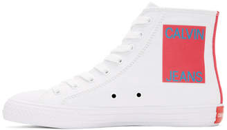 Calvin Klein White Canvas Canter High-Top Sneakers