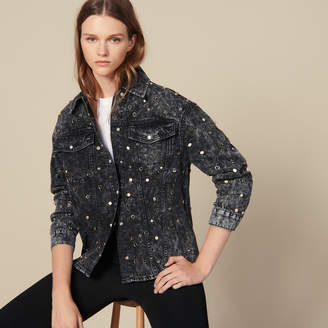 Sandro Denim Shirt Trimmed With Studs
