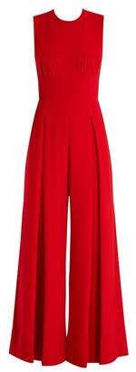 Emilia Wickstead Ethel Wide Leg Wool Crepe Jumpsuit - Womens - Red