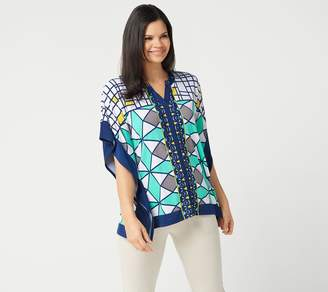 Susan Graver Printed Liquid Knit Scarf Top with Ties