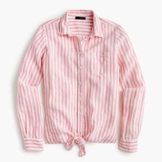 J.Crew Petite tie-front linen shirt