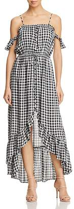 Lost + Wander Day Trip Ruffled Cold-Shoulder Gingham Dress