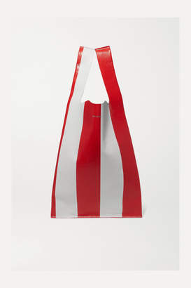 Balenciaga Supermarket Shopper Striped Crinkled-leather Tote - Red