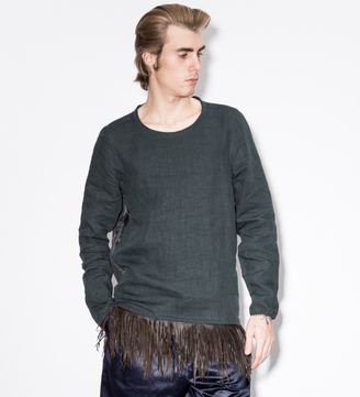 Paul Smith Navy Linen Smock With Leather Fringe $955 thestylecure.com