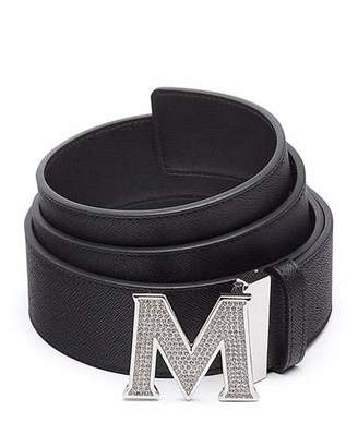 MCM Men's Be Jeweled M-Buckle Leather Belt $330 thestylecure.com