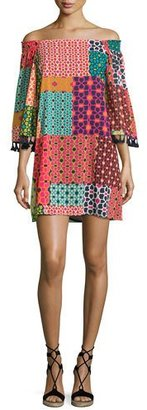 Trina Turk Amaris Off-the-Shoulder Patterned Dress, Multi $298 thestylecure.com