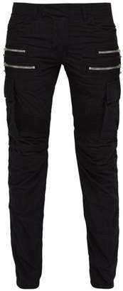 Balmain Biker Style Cotton Blend Cargo Trousers - Mens - Black