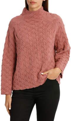 Sweater Funnel Neck Basket Weave Stitch