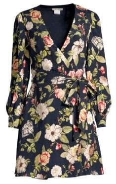 Alice + Olivia Hannah Floral Blouson Wrap Dress