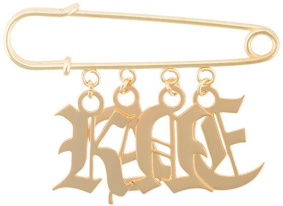 Christopher KaneChristopher Kane logo charm safety-pin brooch