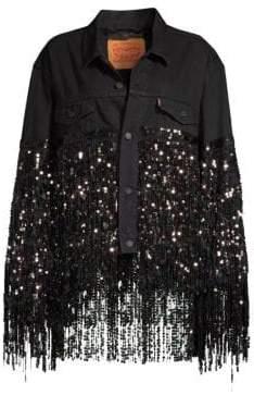 Romance Was Born Black Star Sequin Fringe Denim Jacket