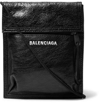 Balenciaga Arena Logo-Print Creased-Leather Messenger Bag