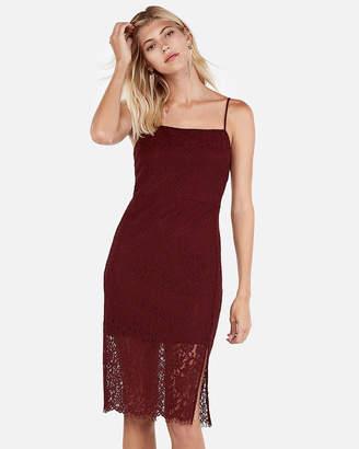 Express Petite Front Slit Lace Sheath Dress