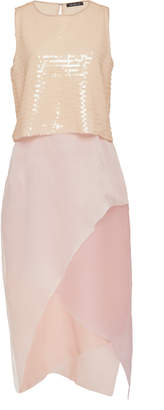 Lee Mi Jong Paillette Dress with Layered Organza Skirt