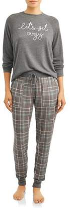 Secret Treasures Essentials Women's and Women's Plus Hacci Long Sleeve Pajama Top Cozy/Hacci Jogger Plaid