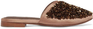 ZYNE - Moon Embellished Satin Slippers - Gold