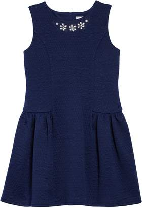 Little Angels Sleeveless Textured Knit Fit & Flare Dress