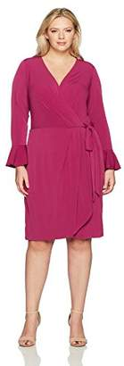 London Times Women's Plus Size Bell Sleeve V Neck Jersey Wrap Dress