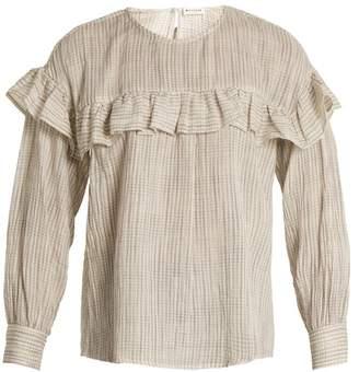 Masscob Ruffle Trimmed Checked Cotton Top - Womens - White Stripe