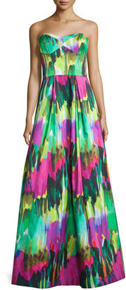 Milly Strapless Sweetheart-Neck Printed Gown, Emerald $1,100 thestylecure.com