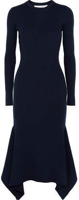 Victoria Beckham - Asymmetric Ribbed Wool Midi Dress - Navy