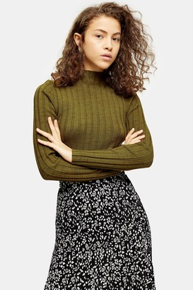 Topshop Womens Petite Knitted Marl Funnel Neck Top - Khaki
